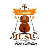 Классический значок музыки с скрипкой и смычками Стоковое фото RF