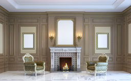 Классический интерьер с деревянными paneling и камином 3d представляют Стоковое Фото