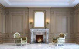 Классический интерьер с деревянными paneling и камином 3d представляют Стоковые Фото