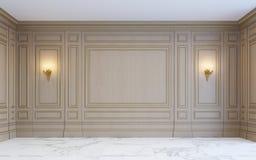 Классический интерьер с деревянным paneling перевод 3d Стоковые Изображения RF