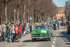 Классический парад автомобиля празднует весну в Швеции Стоковое фото RF