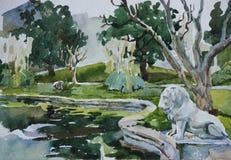Классический парк с скульптурой пруда и льва Стоковые Фото