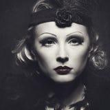 Классический ретро женский портрет Стоковое Изображение