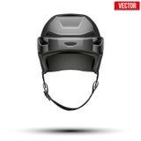 Классический черный шлем хоккея на предпосылке Стоковые Фотографии RF