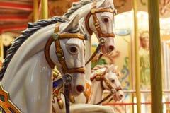 Классический carousel, на ноче под луной Стоковое фото RF