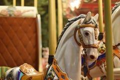 Классический carousel, на ноче под луной Стоковые Фото