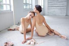 2 классических артиста балета представляя на белизне Стоковые Фотографии RF