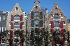 3 классических дома Голландии с штарками на улице в дне Стоковая Фотография