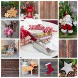 Классическое украшение рождества в красном цвете проверенном и зеленом с candl стоковые изображения