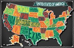 Классн классный 2D карты США винтажное иллюстрация вектора
