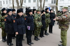 Классы внутри сверлят внутри корпус кадетов полиции Стоковые Фото