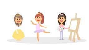 Классы детей s, балет, танец, искусство характеры также вектор иллюстрации притяжки corel Стоковое фото RF