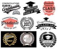 Класс вектора градации установленный поздравлений 2017 выпускника Congrats градуирует иллюстрация вектора