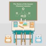 Класс в школе с столом и доской Стоковое Фото