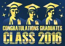 Класс студент-выпускников поздравлениям плаката 2016 Стоковые Изображения