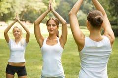 Класс фитнеса Красивые молодые женщины делая тренировку на PA лета Стоковое Изображение RF