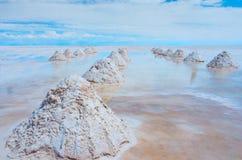 01 06 2000 класть слоя озера Боливии de расстояния женских уединённых над водой uyuni путника соли salar тонко гуляя Стоковые Фото
