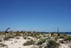 Кладбище анкера на пляже Barril, Португалии Стоковое Изображение RF