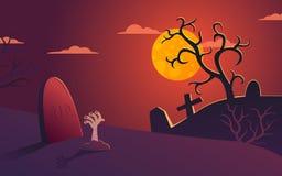 Кладбище иллюстрации хеллоуина вектора на ноче Стоковая Фотография RF