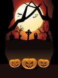 Кладбище тыкв ночи хеллоуина Стоковые Фотографии RF