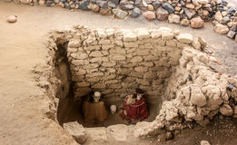 Кладбище Chauchilla старое в Перу, мумии младенца Стоковая Фотография RF