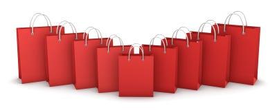 кладет красную покупку в мешки иллюстрация штока
