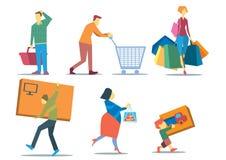 кладет покупку в мешки людей Стоковые Фотографии RF