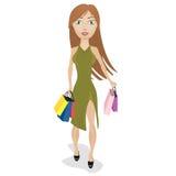 кладет покупку в мешки sally девушки Иллюстрация штока