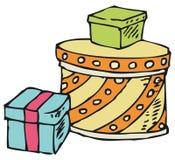 кладет подарки в коробку 3 Стоковые Фото