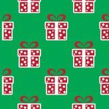 кладет подарок в коробку рождества цветастый картина праздника безшовная Бесплатная Иллюстрация