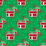 кладет подарок в коробку рождества цветастый картина праздника безшовная Стоковое фото RF