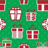 кладет подарок в коробку рождества цветастый картина праздника безшовная Стоковые Фотографии RF