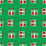 кладет подарок в коробку рождества цветастый картина праздника безшовная Стоковое Изображение RF