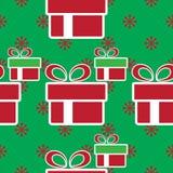 кладет подарок в коробку рождества цветастый картина праздника безшовная Иллюстрация штока