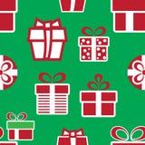 кладет подарок в коробку рождества цветастый картина праздника безшовная Стоковое Фото
