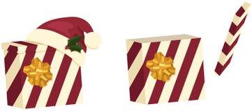 кладет подарок в коробку 2 рождества иллюстрация штока