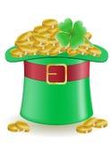 Клевер шляпы и illu дня ` s St. Patrick монеток Стоковое Изображение RF