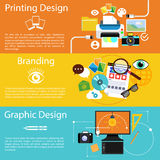 Клеймить, графический дизайн и печатать значок дизайна Стоковое фото RF