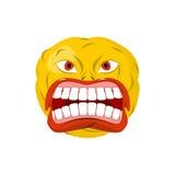 Клекоты смайлика зубы рта открытые Шальное emoji взволнованность иллюстрация штока