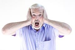 Клекот портрета старшего человека испуганный Стоковые Фотографии RF