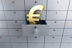 Клетка банковского взноса евро раскрытая знаком пустая бесплатная иллюстрация