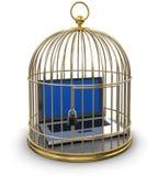 Клетка золота с компьтер-книжкой (включенный путь клиппирования) Бесплатная Иллюстрация