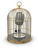 Клетка золота с микрофоном (включенный путь клиппирования) Иллюстрация штока