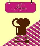 Клетка меню burgundy знака с шлемом шеф-повара. Вектор Стоковое Фото