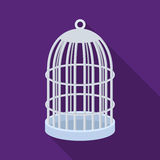 Клетка металла для птиц Значок зоомагазина одиночный в черной сети иллюстрации запаса символа вектора стиля иллюстрация вектора