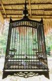 Клетка птицы тайского типа деревянная Стоковое фото RF