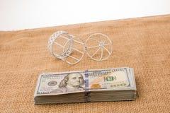 Клетка птиц около пачки банкноты доллара США Стоковое Изображение