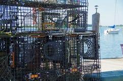 Клетки омара на доке Новой Англии Стоковые Фотографии RF