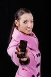 клетчатый телефон девушки Стоковое Изображение