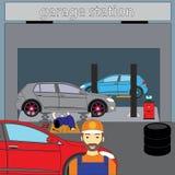Клиенты автоматического механика ждать иллюстрация штока